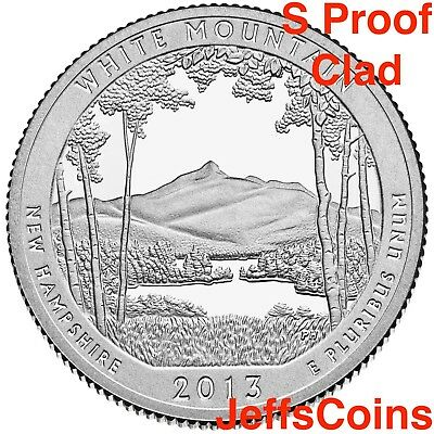 2013 S Mint Proof White Mountain NATIONAL STATE PARK QUARTER Clad Cameo From Set