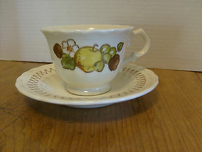 Vintage Metlox Fruit Basket Cup and saucer Vernon Ware hand painted