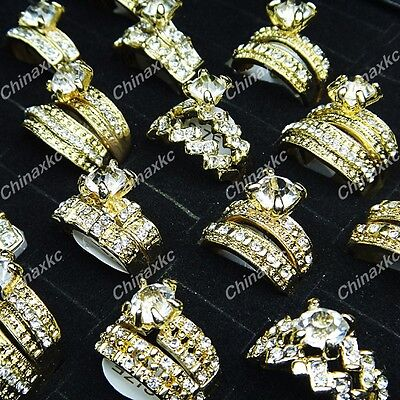 New 10pcs Wholesale Jewelry Lots Cubic Zircon Rhinestones  2 in 1 Rings Fashion