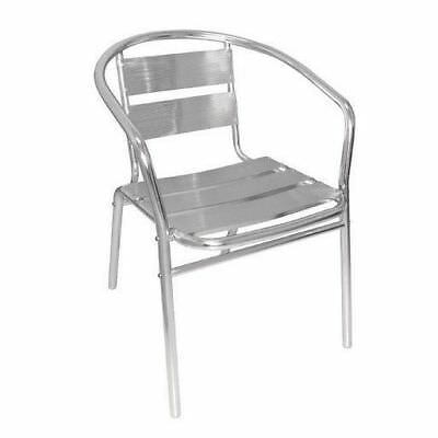 4x Cafe Chairs, Aluminium, Stackable with Curved Arm, Outdoor Furniture