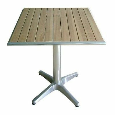 Cafe Table, Aluminium & Ash Wood, Square, Outdoor Furniture, Patio, 600mm