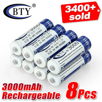 8pcs 3000mAH AA Ni-MH NiMH Recycle Rechargeable Battery BTY Cell