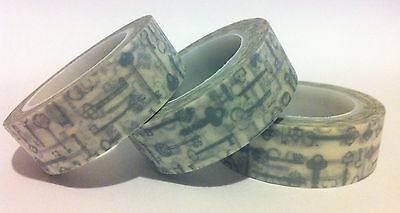 Washi Tape - Vintage Silver/grey Keys - 15Mm Wide - 10Mtr Roll