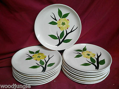 16  BLUE RIDGE YELLOW FLOWER SOUTHERN POTTERIES COFFEE CUP SAUCERS PLATE STETSON