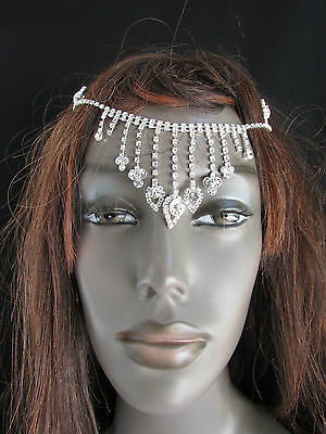 New Women Silver Front Head Metal Chains Nose Cover Fashion Hair Pin Rhinestones