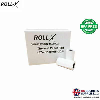 10/200 - 57x30mm Roll-X Thermal Till Rolls Chip & Pin PDQ Just £2.92 per 20 !