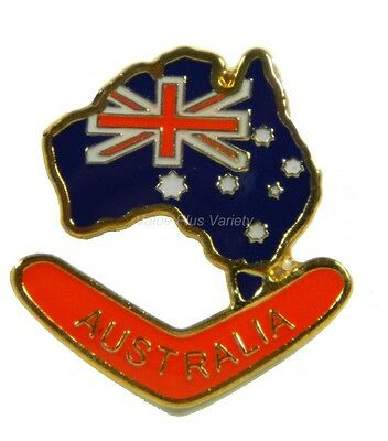 Australian Souvenir Enamel Australia Map Flag Boomerang Hat Pin Lapel Badge