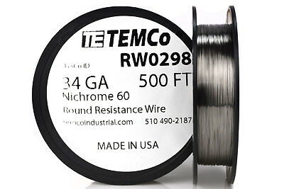 Nichrome 80 22 Gauge AWG Round Wire 50ft Roll .64mm 1.0363 Ohms//ft Resistance