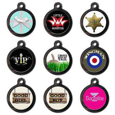 Cool Custom Personalised Pet Dog Cat Name ID Tags For Collar - Engraved FREE