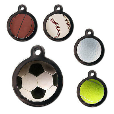 Football Tennis Golf PET ID TAGS Sports Pet Dog Cat Name ID Tags - Engraved FREE