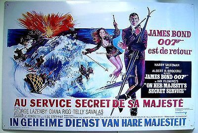 Plaque Tole Litho James Bond 007 - Au Service Secret De Sa Majeste