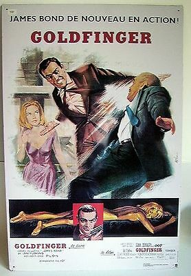 Plaque Tole Litho James Bond 007 - GOLDFINGER
