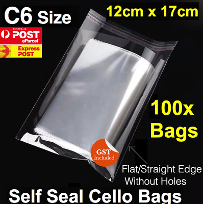 100 CELLOPHANE CELLO CLEAR BAGS - 120 x 170mm C6 Cards
