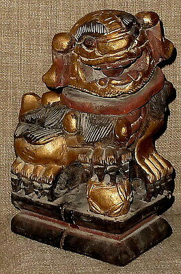 ANTIQUE~Gorgeous Early 1900s HAND CARVED & PAINTED/GILDED WOOD CHINESE FOO DOG