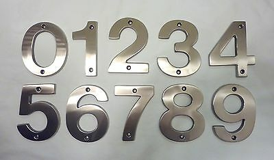 "Decorlux Solid Brass House Numbers 5"" 0 1 2 3 4 5 6 7 8 9 SATIN CHROME FREE SHIP"