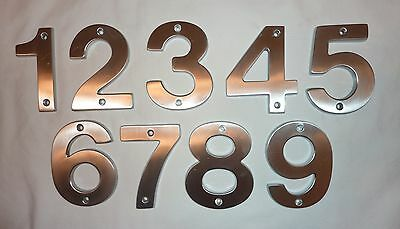"Decorlux Solid Brass House Numbers 4"" 1 2 3 4 5 6 7 8 9 SATIN CHROME FREE SHIP"