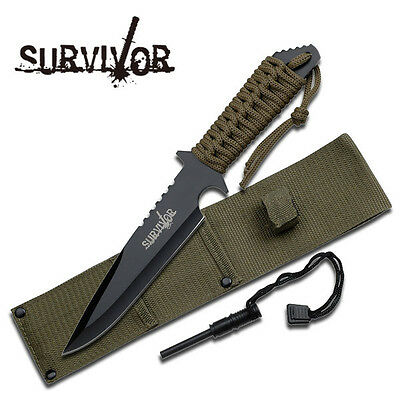 "Survivor 11"" Black Full Tang Survival Fire Starter Hunting Camping Knife  New"