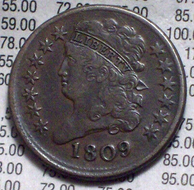 1809 HALF CENT Classic Head VF+/XF Brown Toning Almost 180 Rotated Reverse Coin