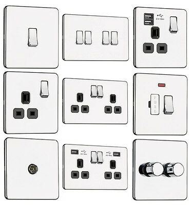 EXCLUSIVE PROMOTION - Screwless Flat plate Light Switches & Plug Sockets Chrome