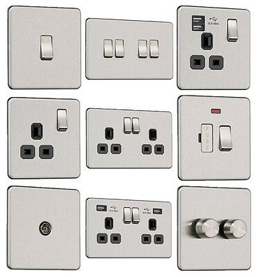 EXCLUSIVE PROMOTION Screwless Flat Plate Light Switches &Plug Sockets Stainless