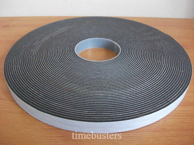 25m Black Foam Draught Excluder Single Sided Tape Closed Cell 50mm Wide x 3mm