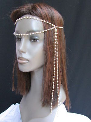 New Women Gold Head Chain Fashion Jewelry Long Back Front Fringes Pearl Beads