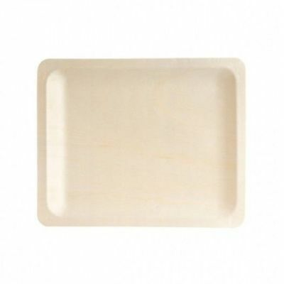10 x Disposable Plate Rectangular, Biowood, Catering & Functions, 270x220mm