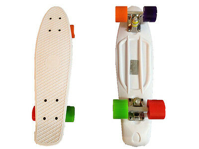 FISH Mini Cruiser Skateboard Banana Board Old School 70s White Deck Colors Wheel