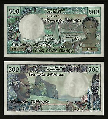 Rare New Hebrides 500 Francs Nd(1979)  Banknote Uncirculated *best Price*