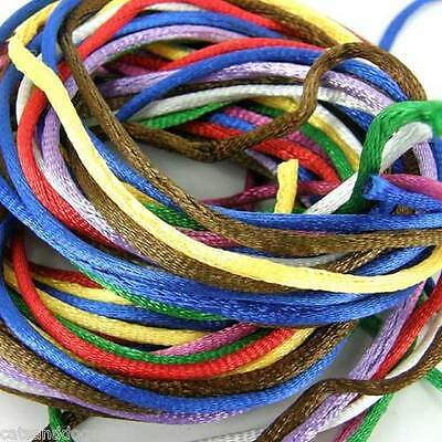 5m Pack of Silky 2mm Rattail Jewellery Cord Shamballa Kumihimo Many Colours