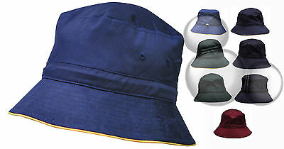 Bucket Hat Contrast Trim Kids & Adults Adjustable Toggle School Cap New!