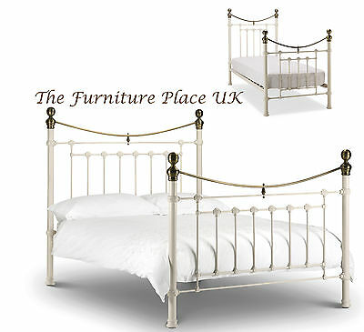 Victoria  Metal Bed Frame In Stone White & Brass  Single  Double  Kingsize