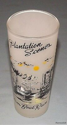 Vintage Plantation Scenes Steam Boat Race Frosted Glass Tumbler