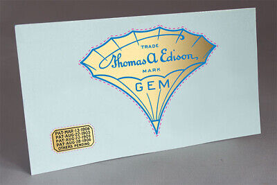 2 DECAL EDISON GEM and PATENT CYLINDER METAL HORN PHONOGRAPH