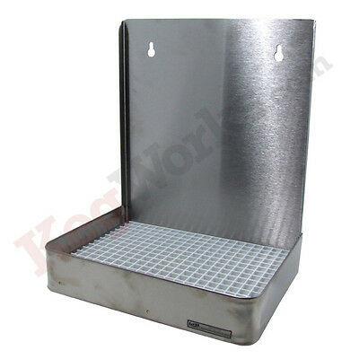 """12"""" Wall Mount Drip Tray - Stainless Steel with Drain - Draft Beer Spill Catcher"""