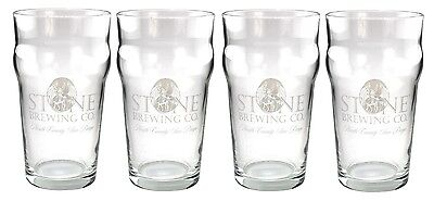 Stone Brewing Company Imperial Pint Glasses- Set of 4 - Bar Pub Beer Drinkware