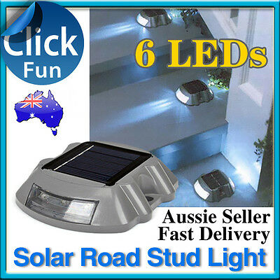 New Solar Power Road Stud 6 LED Light Outdoor Garden Driveway Path Security Lamp