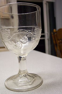 EAPG Bryce Glass Clear Strawberry Water Goblet 1870  Very Nice! FREE SHIPPING