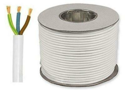 White Round Flexible Cable 3183Y 3 Core 0.75mm 6 Amp 1mm 10A 1.5mm 15A 2.5mm 24A