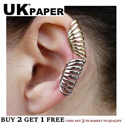 Choice Silver / Gold Long Layered Cartilage Ear Cuff Clip On Wrap Emo Earring Uk