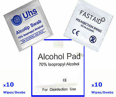 10   70% ISOPROPYL ALCOHOL Cleaning Wipes Swabs IPA