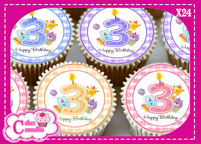 24 X BIRTHDAY CHILDRENS MIXED TRAIN EDIBLE CUPCAKE TOPPERS CAKE RICE PAPER 8604