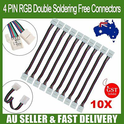 10X LED Strip Lights Double Connector Soldering Free 3528 5050 RGB 4 Wire 10mm
