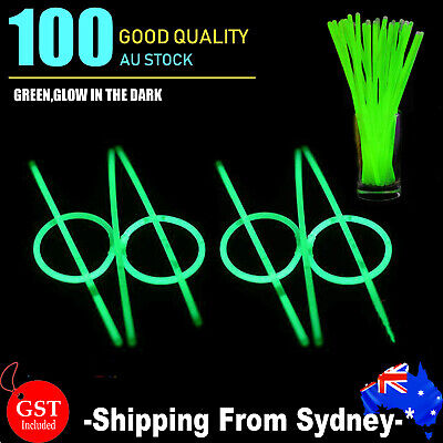 100x Green Glow Sticks Light Bracelets Disco Party Bulk stick glowsticks concert