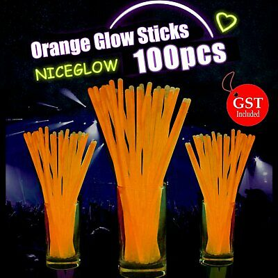 100 Orange Glow Sticks Light Bracelets Disco Party Bulk stick glowsticks