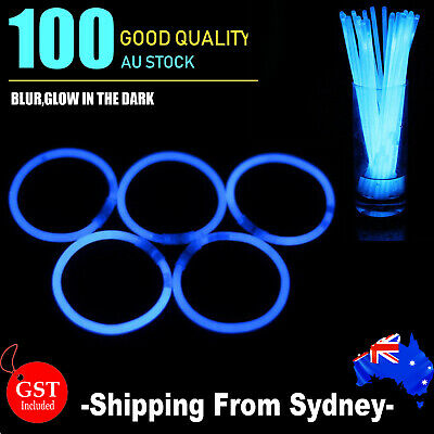 100 Blue Glow Sticks Light Bracelets Disco Party Bulk stick glowsticks