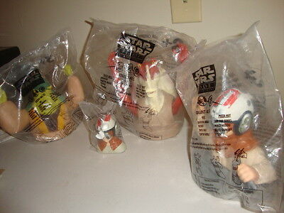 STAR WARS CUP TOPPERS FROM MCDONALDS,SET OF 3 PLUS SMALL ANAKIN FIGURE !!!!!!!!!