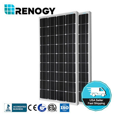 Renogy Solar Panel PV Off Grid RV Boat 2pcs 100W 12 Volt Mono Cells Charger