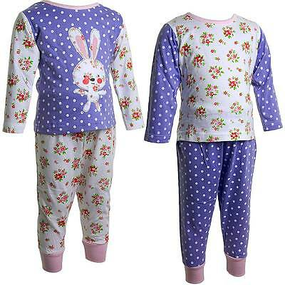 Baby Girls Lullaby Floral Bunny Polka Dot Pyjamas Lilac Pink White 6-23mths