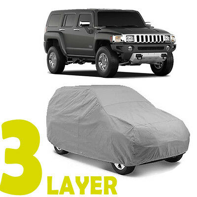 TRUE 3 LAYERS GRAY FITTED SUV COVER OUTDOOR WATER SUN RESISTANT for HUMMER H2 H3
